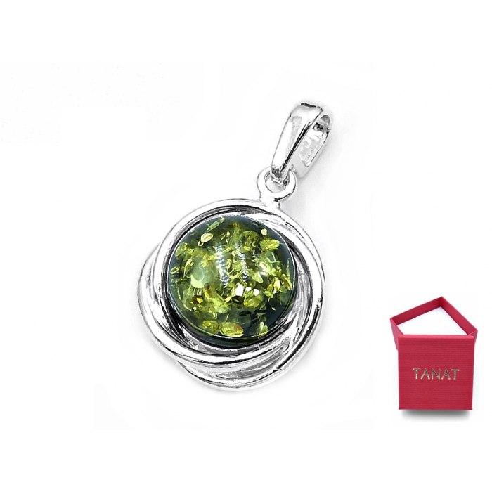 Srebrny wisiorek koszyczek z zielonym bursztynem