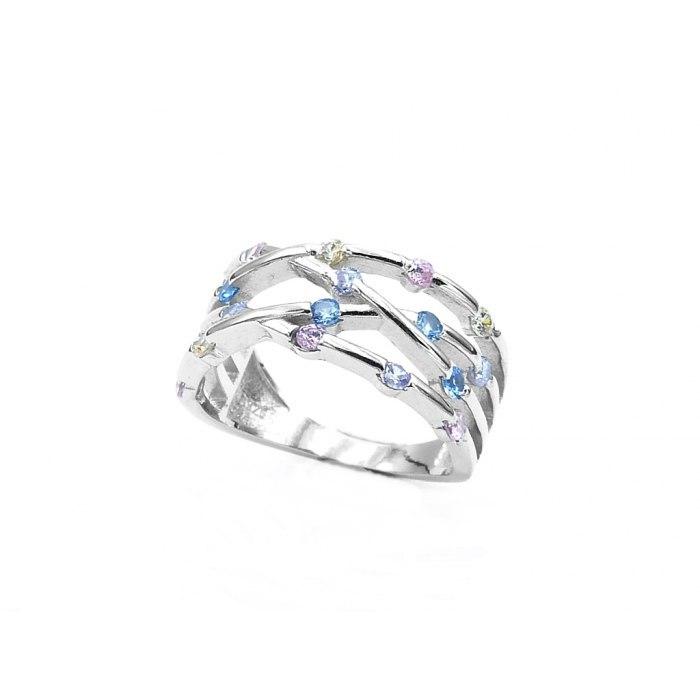 Srebrny pierścionek skrzyżowany mix cyrkonie