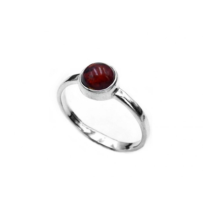 Srebrna pierścionek bursztyn brąz