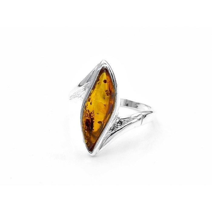 Duży, srebrna pierścionek bursztyn brąz