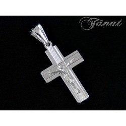 Duży, srebrny krzyż z Jezusem DEW-7