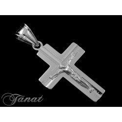 Duży, srebrny krzyż z Jezusem DEW-19