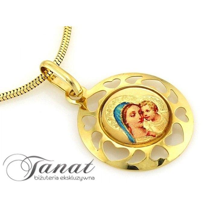 Złoty 0,585 emaliowany medalik, ażur