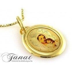 Złoty 0,585 emaliowany owalny medalik