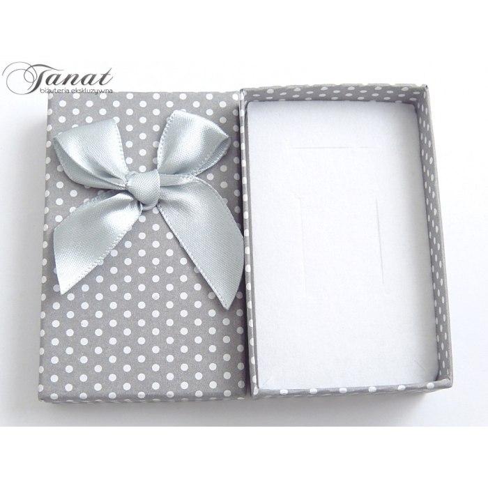 Pudełko 5x8x2,8 cm - szare w kropki, duża kokarda