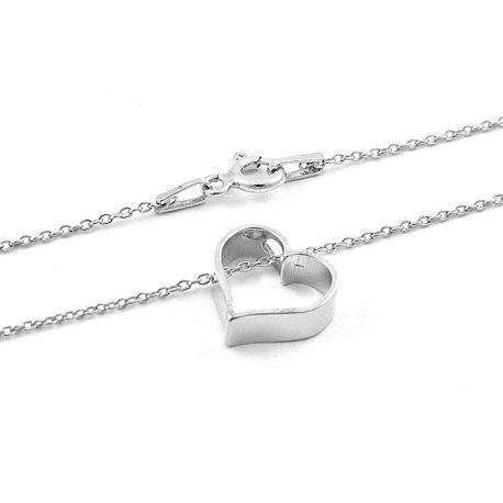 Srebrny naszyjnik serce 3D