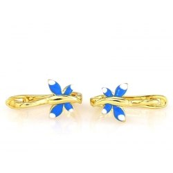 Złote 0,333 kolczyki niebieskie motylki