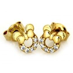 Złote 0,585 kolczyki Myszka Mini
