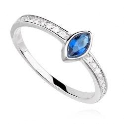 Srebrny pierścionek z szafirową cyrkonią