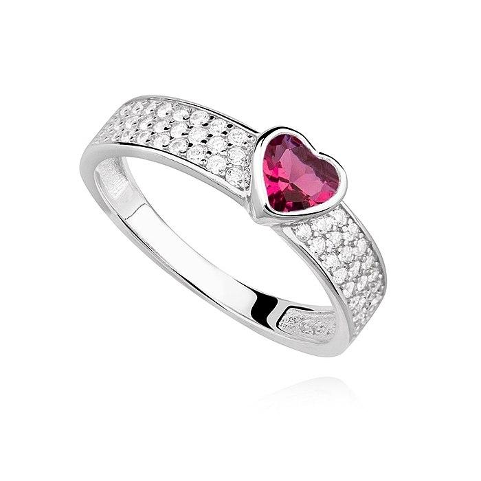 Srebrny pierścionek serce ruby