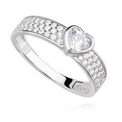 Srebrny pierścionek serce crystal