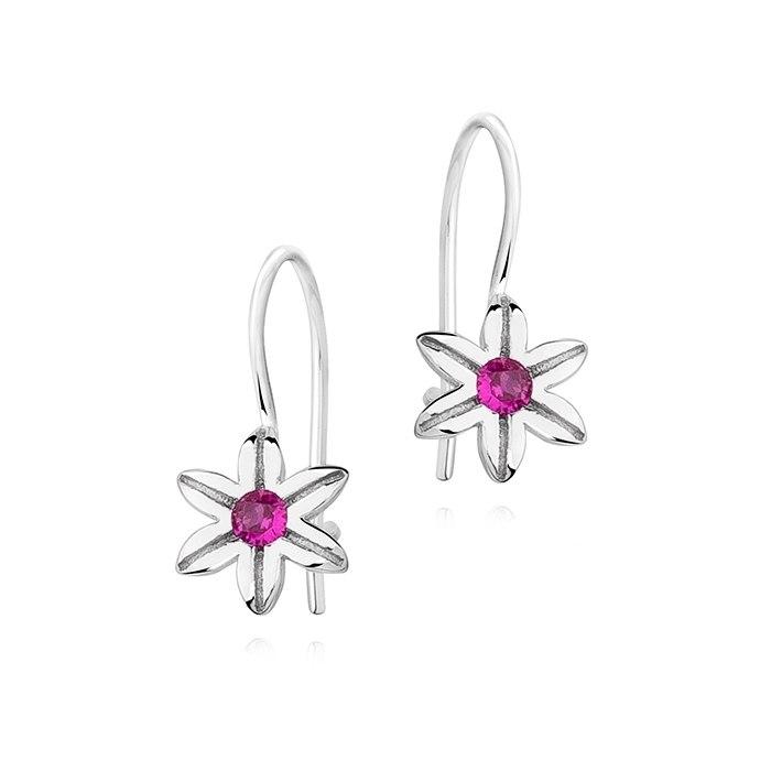 Srebrne kolczyki kwiatuszki ruby