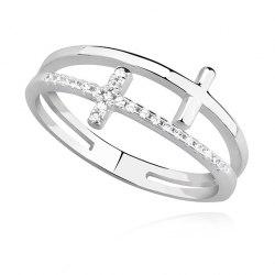 Srebrny pierścionek podwójny KRZYŻ