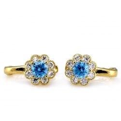Złote 585 kolczyki niebieskie kwiatuszki
