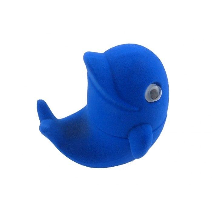 Welurowy delfin - niebieski