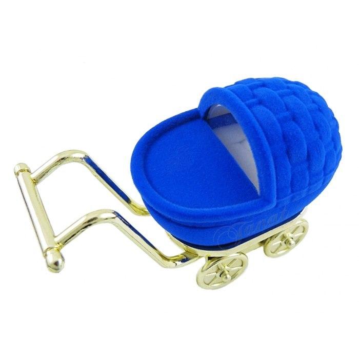 Welurowy wózek - niebieski