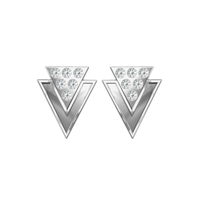 Srebrne trójkąty z cyrkoniami