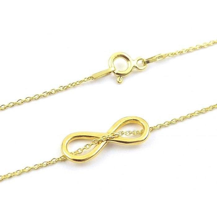 Infinity - srebrny złocony naszyjnik celebrytka.