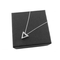 Srebrny naszyjnik trójkąt 3D - pudełko