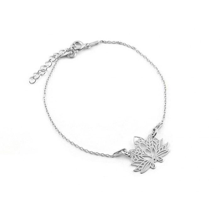 Srebrna bransoletka kwiat lotosu