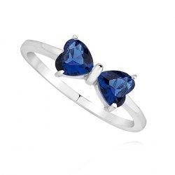 Srebrny pierścionek kokarda serca