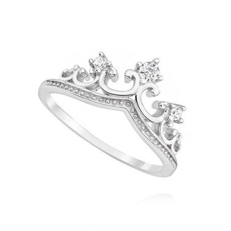 Srebrny pierścionek korona