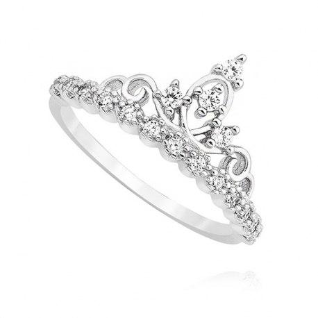 Srebrny pierścionek korona 2