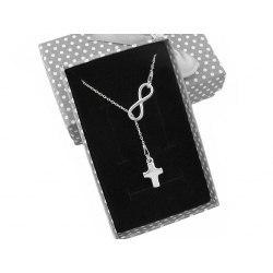 Srebrny naszyjnik Y nieskończoność krzyż