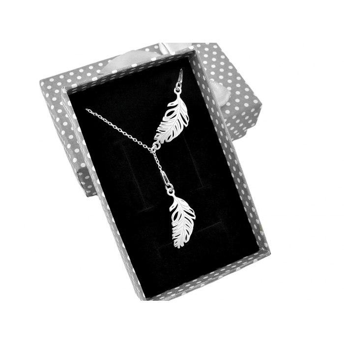 Srebrny naszyjnik krawat Y pióra piórko