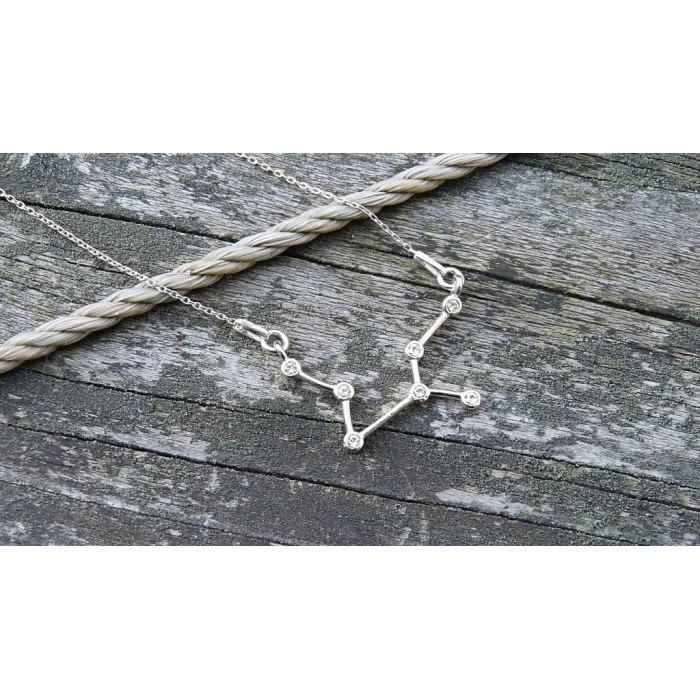 Srebrny naszyjnik znak zodiaku konstelacja panna