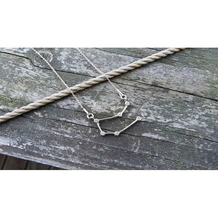 Srebrny naszyjnik znak zodiaku konstelacja bliźnięta
