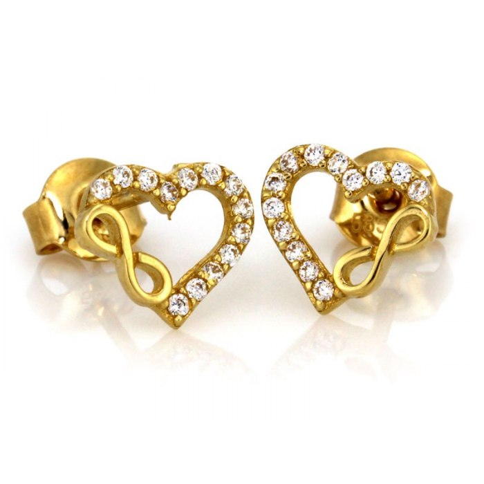 Złote 0,333 kolczyki serca nieskończoność