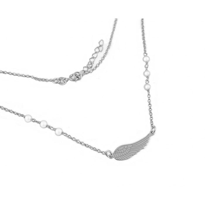 Srebrny naszyjnik skrzydło różaniec perełki