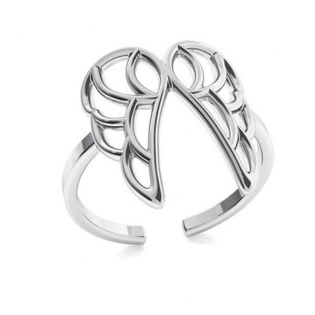 Srebrny pierścionek knuckle ring skrzydła