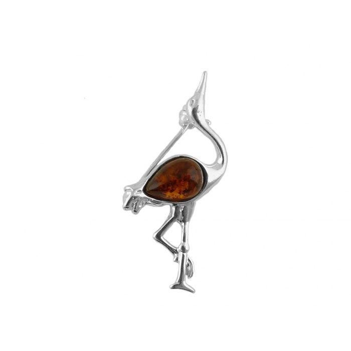 Srebrna broszka czapla z bursztynem
