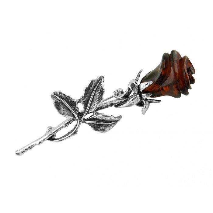 Broszka róża z bursztynem 3 + pudełko