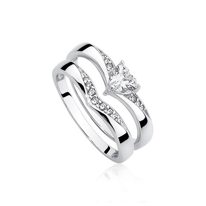 Zestaw srebrnych pierścionków pierścionek z sercem