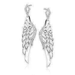 Długie srebrne kolczyki skrzydła z cyrkoniami pudełko