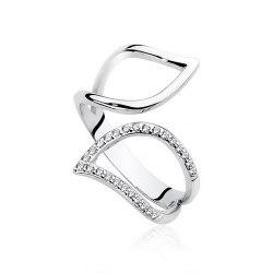 Duży srebrny pierścionek z cyrkoniami
