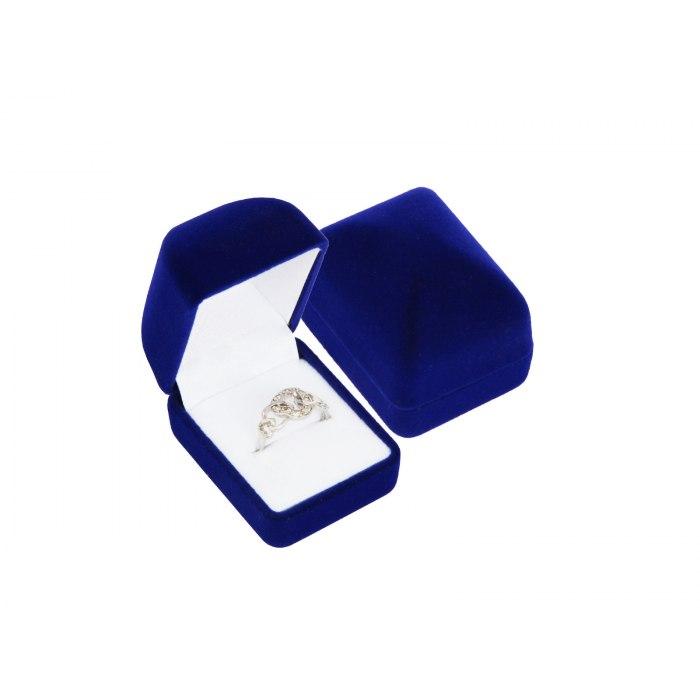Welurowe granatowe pudełko na pierścionek wkręty