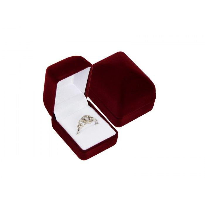 Welurowe bordowe pudełko na pierścionek wkręty