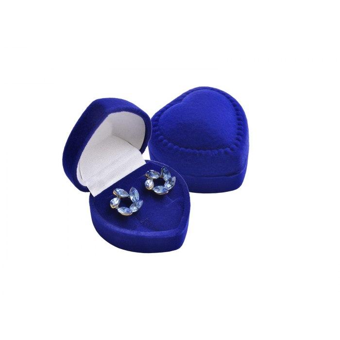 Welurowe pudełko na kolczyki serce - granat
