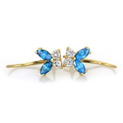 Złote kolczyki 333 błękitne motylki + pudełko