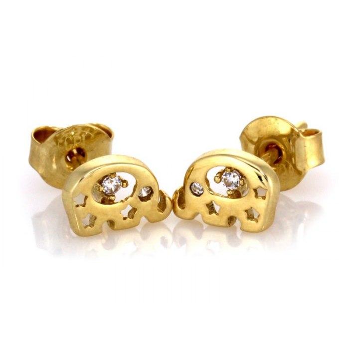 Złote 333 kolczyki słonik z cyrkoniami