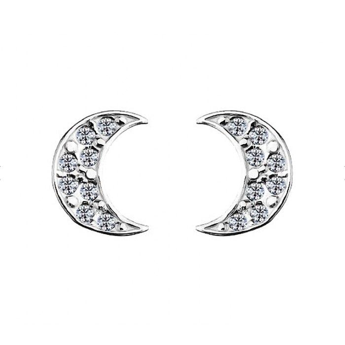 Srebrne kolczyki księżyce z cyrkoniami