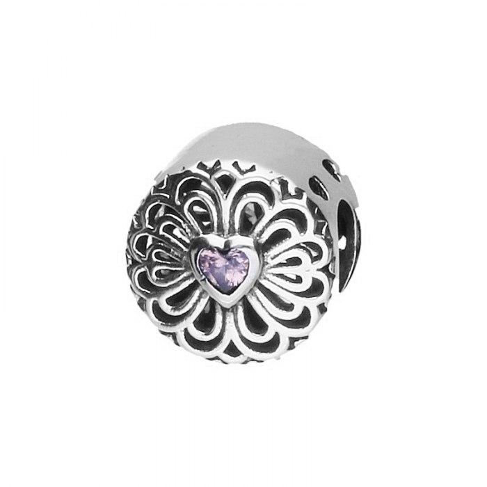 Srebrny koralik modułowy różowe serce Beads
