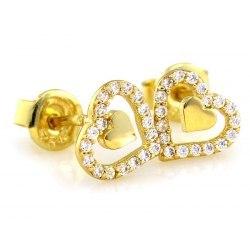 Złote 0,333 kolczyki serca cyrkonie