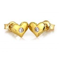 Złote 333 kolczyki serce cyrkonia