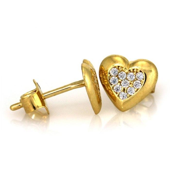 Złote 0,585 kolczyki serca cyrkonie