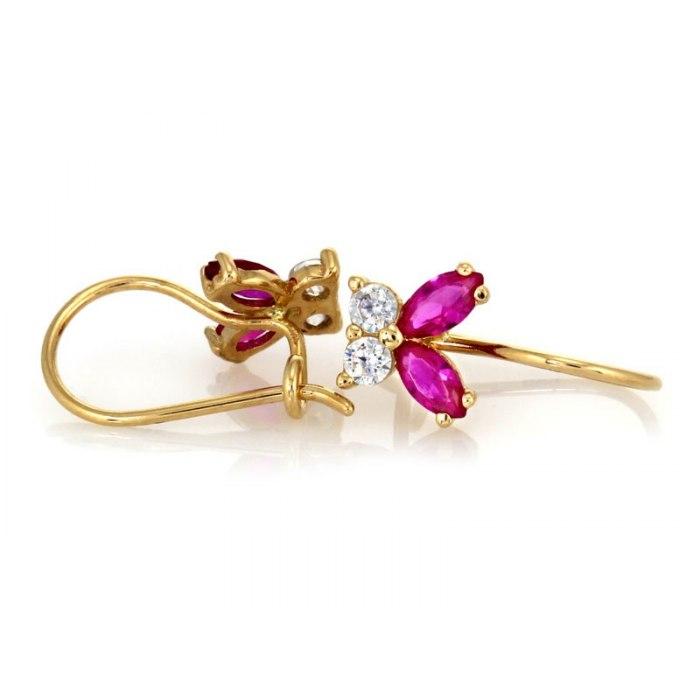 Złote kolczyki 585 rubinowe motylki + pudełko
